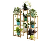 Multi-Tier Bamboo Plant Shelf, Planter Rack Storage Organizer, 32.7x39.4x9.8in