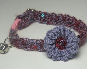 Break-A-way Cat Collar Adjustable Crochet Bell Purple w Burgundy Sparkle Indoor Use Only