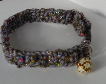 Break-A-way Cat Collar Adjustable Crochet Bell Purple with Gold Sparkle (Indoor Use Only)