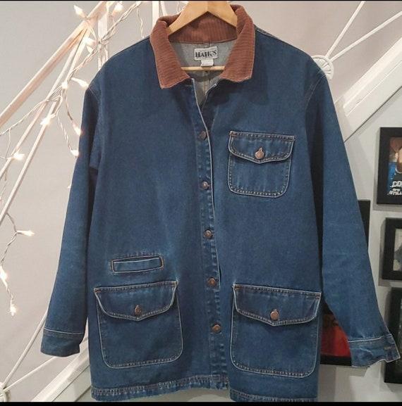 Vintage 80s denim chore barn jacket coat