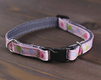 FREE SHIPPING. Fancy Breakaway cat or small dog collar. Pink girl cat collar. Kitten collar. Adjustable cat collar. Safety mini dog collar.