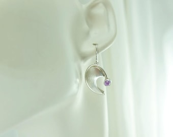 Amethyst Comma Earrings