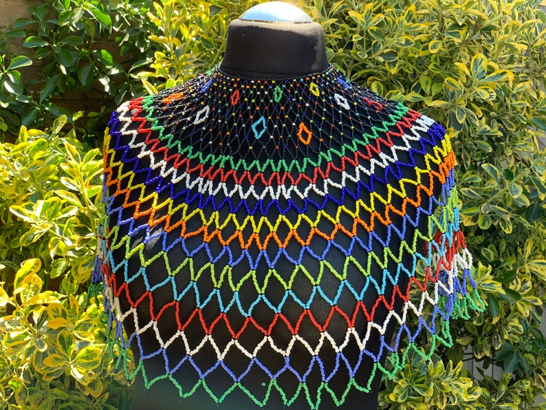 Multicoloured Extra Large web shoulder jewellery top