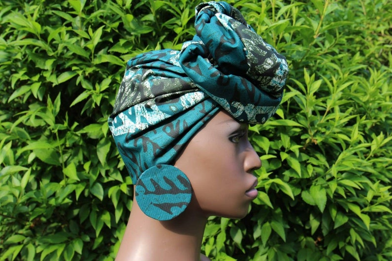 Adire Headwraps with Extra Large Stud Earrings. Tie and Dye
