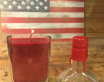 Hand crafted 375 ML Maker's Mark Bourbon Candle. Made With or Without Pedestal Base. Upcycled. Made in America. Veteran Owned.