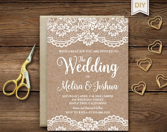 Rustic Wedding Invitation Template, Kraft Wedding Invite, Rustic Bridal  Shower Template Invitations, Instant Download, Editable DIY, RB