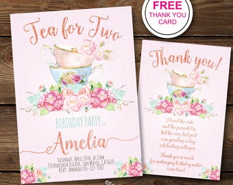 Tea For Two Birthday Invitation Girl Second Invitations 2nd Bday Invite Instant Digital Download Printable Party FloralPink