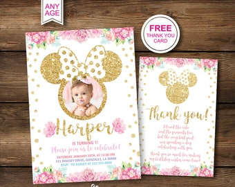 1st Birthday Invitations Minnie Mouse First Picture Party Printable Gold Pink Photo Invites Second 2nd Instant Download Digital PDF