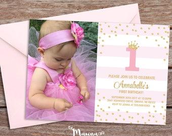 First Birthday Party Invitation Girl 1st Birthday invite