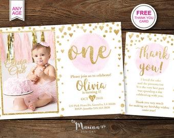 1st birthday girl invitation etsy