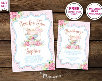 Tea For Two Pink Birthday Invitation Girl Second Invitations 2nd Bday Invite Floral Party