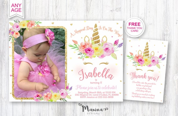 Unicorn Photo Invitation First Birthday Invite 1st