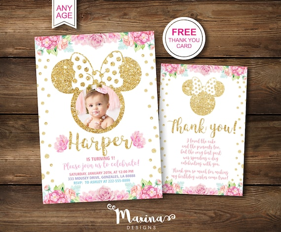 1st Birthday Invitations Minnie Mouse First Picture Party