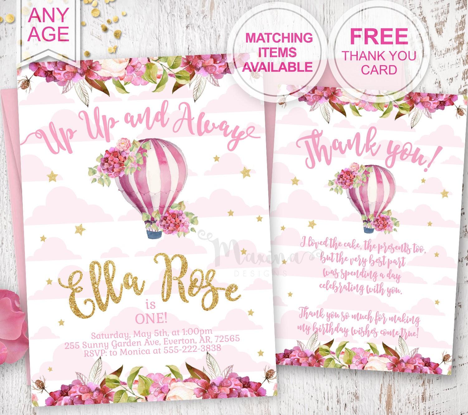 1st Birthday Invite First Bday party Invitation Baby girl | Etsy