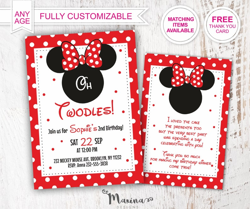 Oh Twodles Minnie Mouse Invitation Birthday Party 2nd Second Invitations Outfit Girl Decor Red Black