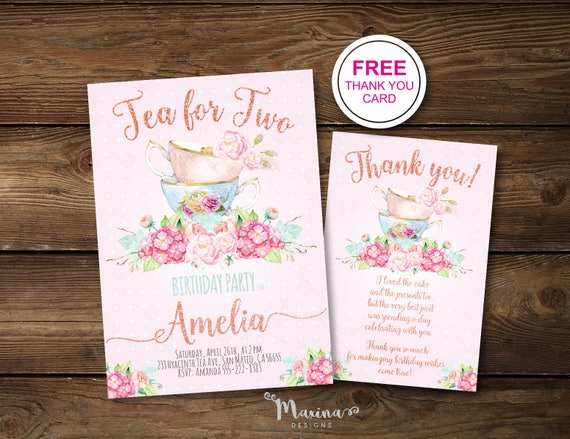 Tea For Two Birthday Invitation Girl Second