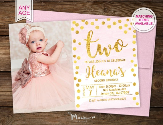 Second Birthday Invitation Invite With Photo Tea For Two