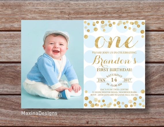 Baby Boy 1st Birthday Party Invite First Bday
