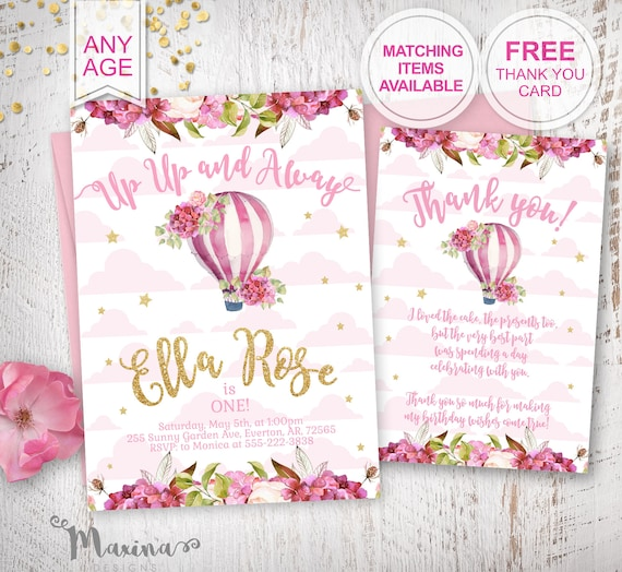 Baby Girl 1st Birthday Themes.1st Birthday Invite First Bday Party Invitation Baby Girl Birthday Party Birthday Decor Birthday Girl Banner Poster Sign Hot Air Balloon