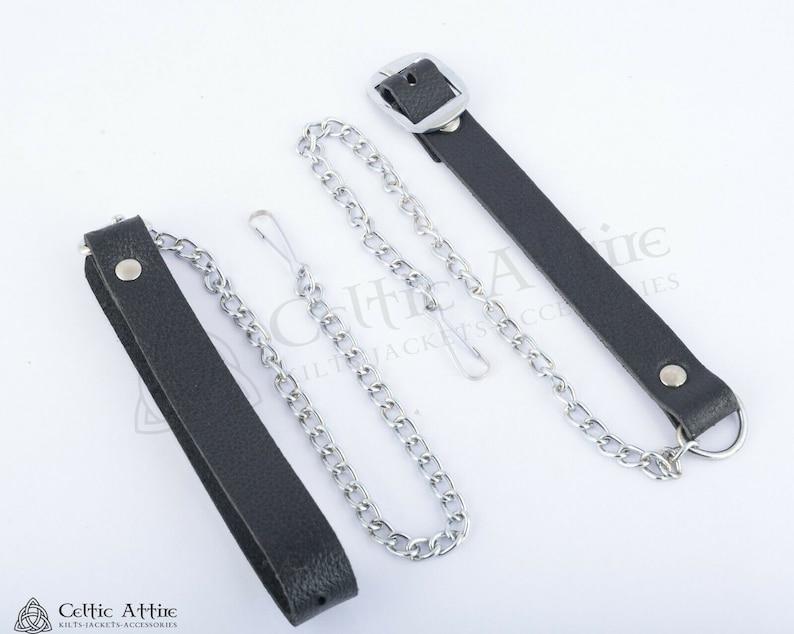 Saltire Flag Celtic Sporran Black Leather Sporran Day Sporran Scottish Kilt Sporran /& Chain Belt Premium Handmade