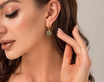 Natural Hetian Jade Donuts Pendant Earrings, Minimalist Circle Green Jade Drop Earrings, Good Luck Stud Earrings Jewelry, Mother's Day Gift