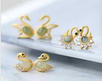 Pave Zircon Earrings For Woman Fashion Jewelry ER404 5 Pairs Gorgeous Shell carved swan shape charms shell earrings