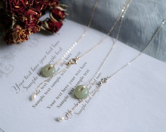 Hetian Jade Pendant Safe Buckle Necklace with Pearl Bead, Lucky Natural Green Donuts Jade & White Pearl, Adjustable Choker Necklaces Jewelry