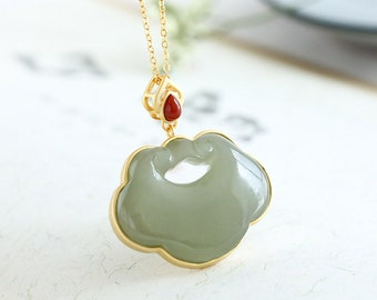 Dainty Natural Hetian Jade Ruyi Pendant Necklace, Natural Jade Pendant, Adjustable Necklace, Luck Pendant Necklace, Special Gifts