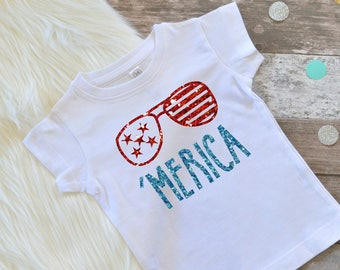 Fourth of July shirts, Baby Girl July 4th, July 4th Girl Shirt, 4th of July Shirt, Independence Day, Memorial Day, Patriotic 'Merica Shirt