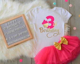 Third birthday shirt 3rd birthday shirt girls cupcake birthday outfit girls birthday pink and gold cupcake birthday toddler birthday shirt
