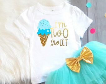 Two Sweet, Ice Cream Birthday, 2nd Birthday Shirt, Second Birthday Shirt, Girls Ice Cream Birthday, Ice Cream Birthday, I'm Two Sweet,
