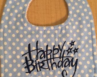 Handmade Baby Bib - FREE SHIPPING OFFER! Happy Birthday