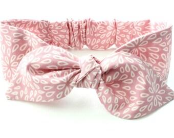 blush pink Baby headband, topknot baby, baby hair bows, knotted headband, baby headband, girls headband, dusty pink petals