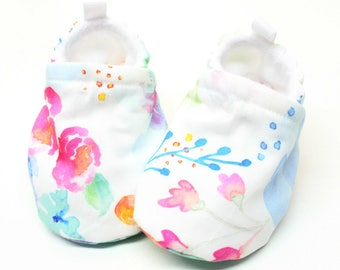 Watercolour Fantasy baby shoes - Baby shoes, Pre walker, soft sole, crib shoes, baby booties, baby moccs, baby girl shoes