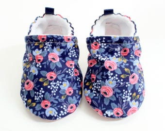Navy rifle paper co softsole baby shoes, baby shoes, soft sole, baby booties, toddler shoes, baby girl shoes