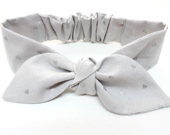 Gracie Baby headband, topknot baby,  baby bows, knotted headband, toddler headband, baby headband, Grey with metallic silver hearts