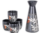 Asian Lucky Bamboo Design Japanese Style Sake Set With 8 fl oz Porcelain Sake Tokkuri Bottle Decanter and Four Ochoko Cups Drinkware Set