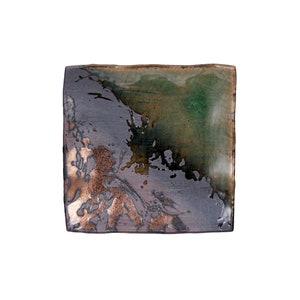 1980 Handmade Terra Cotta Radial Glaze Design J White Red Clay Mandala Large Serving Plate 1980s