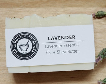 Lavender Soap, Natural, Coconut Oil, Olive Oil, Shea Butter, Essential Oils, Fragrance Free, Cold Proccess, Handcrafted, Small Batch, 3.5 oz