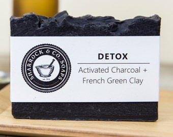 Detox Soap, Acne Soap, Bamboo Activated Charcoal & Clay Soap, Handmade / Natural, Face and Body Soap, Organic Coconut Oil