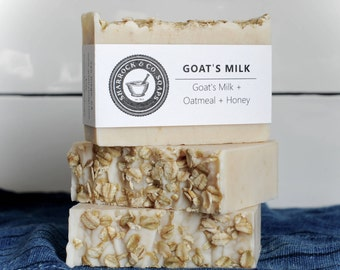 3 Pk Goat Milk Soap, Unscented, Oatmeal + Honey, Handmade / Natural, Skin Brightening, Anti-Aging Soap, Moisturizing Soap, Gift Man Woman