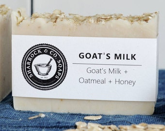Goat Milk Soap, Oatmeal + Honey, Handmade / Natural, Skin Brightening, Anti-Aging Soap, Moisturizing Soap, 3.5 oz, Gift Man Woman