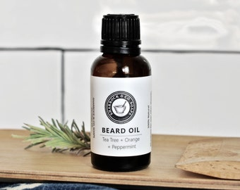 Beard Oil, Fresh Clean Scent, Natural, 1 oz, Beard Conditioner, Tea Tree + Orange + Mint, Hair oil
