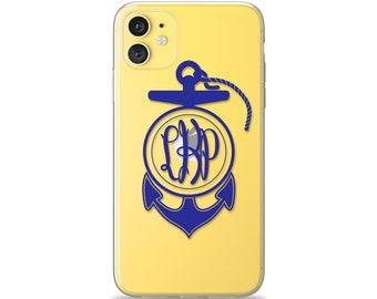 Nautical Anchor Monogram Case for iPhone 13 Pro Max 12 mini 11 XS XR X 10S 10R 10 8 Plus 7 6s 6 SE 2020 5s 5 Transparent Flexible Gel Rubber
