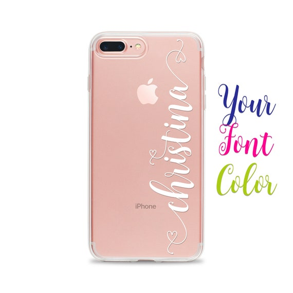 various colors 2aee2 a3de4 Custom Name Phone Cover for iPhone XS Max XR X 10S 10R 10 8 Plus 7 6s 6 SE  5s 5 by Case Charming Clear Transparent Rubber Personalized Soft