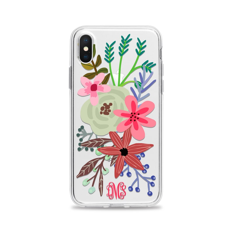 b981bd03b559 Floral Monogram Clear Phone Case for iPhone XS Max XR X 10S