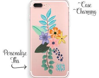 iPhone 8 Plus Case FLORAL iPhone X Case, iPhone 7 Plus Case iPhone 6s Case iPhone 6 Case iPhone SE Case Monogram iPhone 8 Case iPhone 7 Case