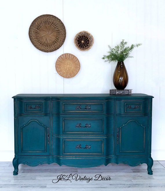 SOLD!!! Painted Buffet Sideboard / Server, Vintage Server, Hand Painted,  Dining Room Furniture