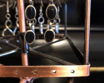 Onyx and silver dangle earrings