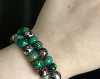 Green multicolored beaded bracelets
